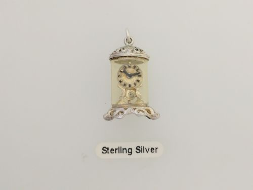 Sterling Silver 'Glass Dome Clock' Charm